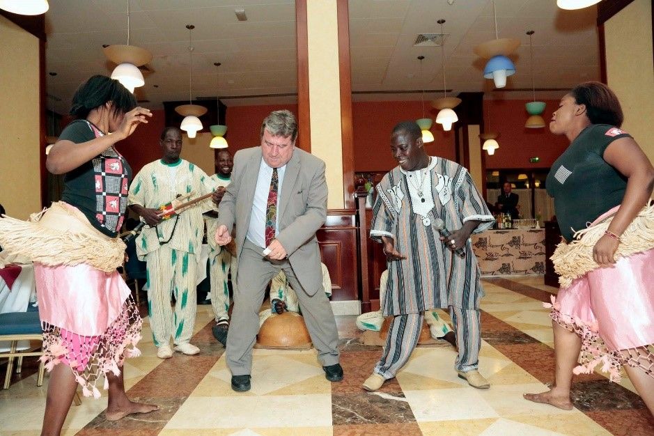 Lionel and dance troupe at Burkina Faso
